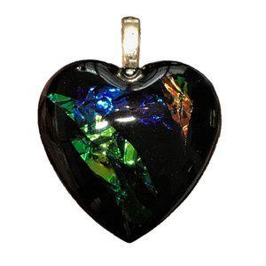 NWOT Resin Heart Pendant, Heart Necklace